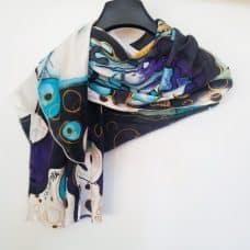 hand painted silk scarf skull